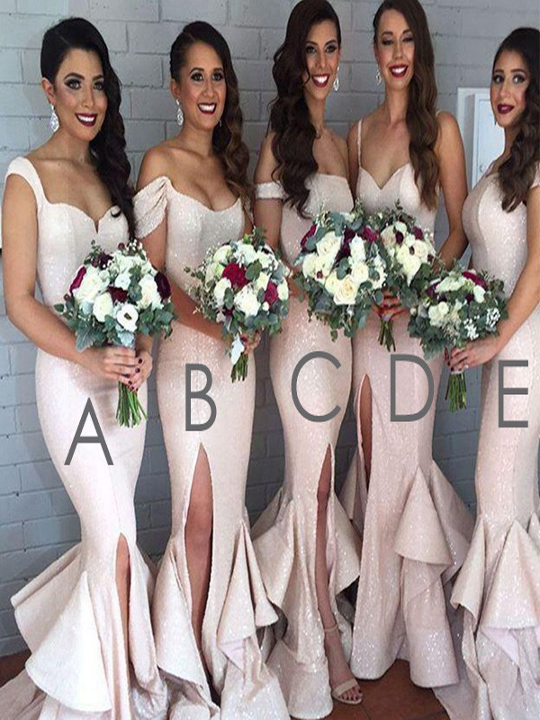 Pearl Pink Sequins Trumpet/Mermaid Floor-Length Bridesmaid Dresses