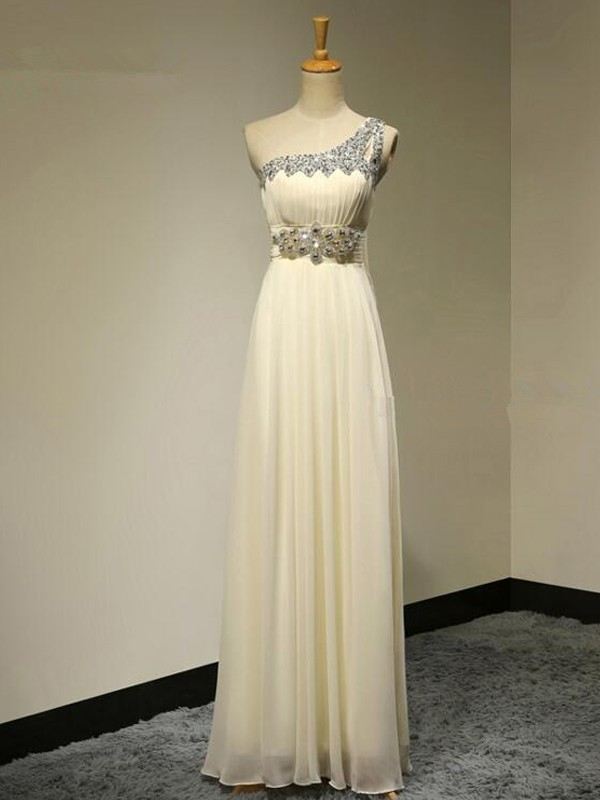 Champagne Chiffon One-Shoulder A-Line/Princess Floor-Length Bridesmaid Dresses