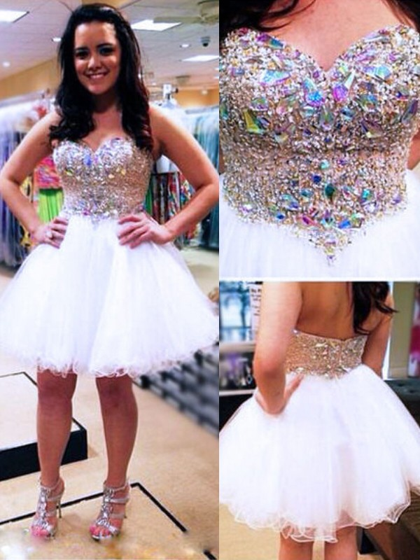 White Tulle Sweetheart A-line/Princess Short/Mini Dresses