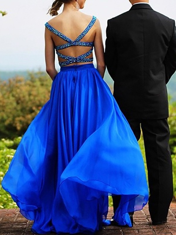 Royal Blue Chiffon Sweetheart A-Line/Princess Floor-Length Dresses