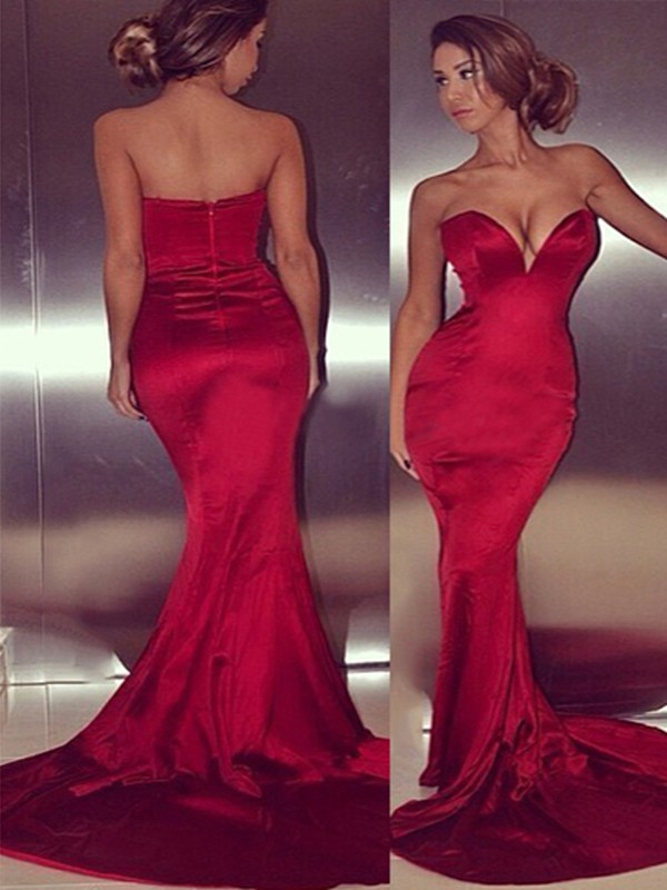 Red Satin Sweetheart Trumpet/Mermaid Court Train Dresses