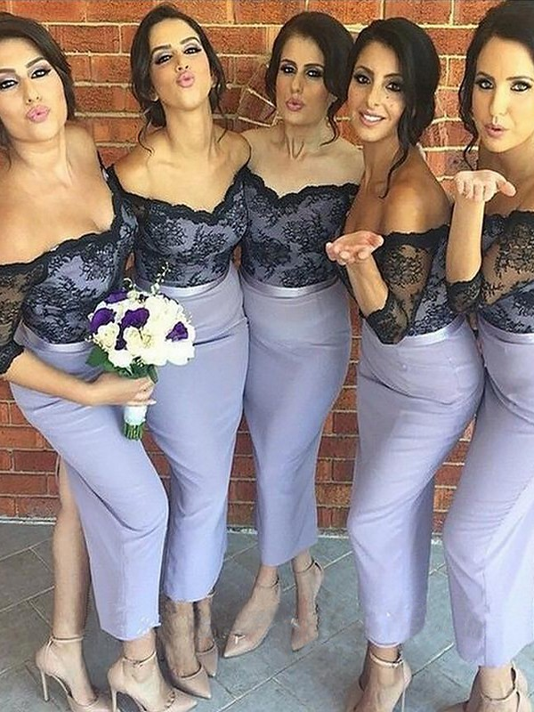Lavender Satin Off-the-Shoulder Trumpet/Mermaid Ankle-Length Bridesmaid Dresses