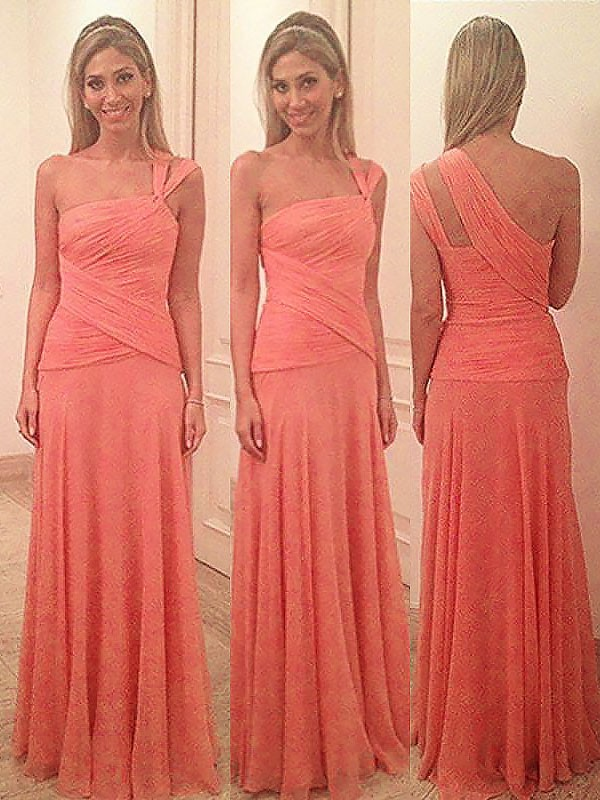 Watermelon Chiffon One-Shoulder Sheath/Column Floor-Length Bridesmaid Dresses