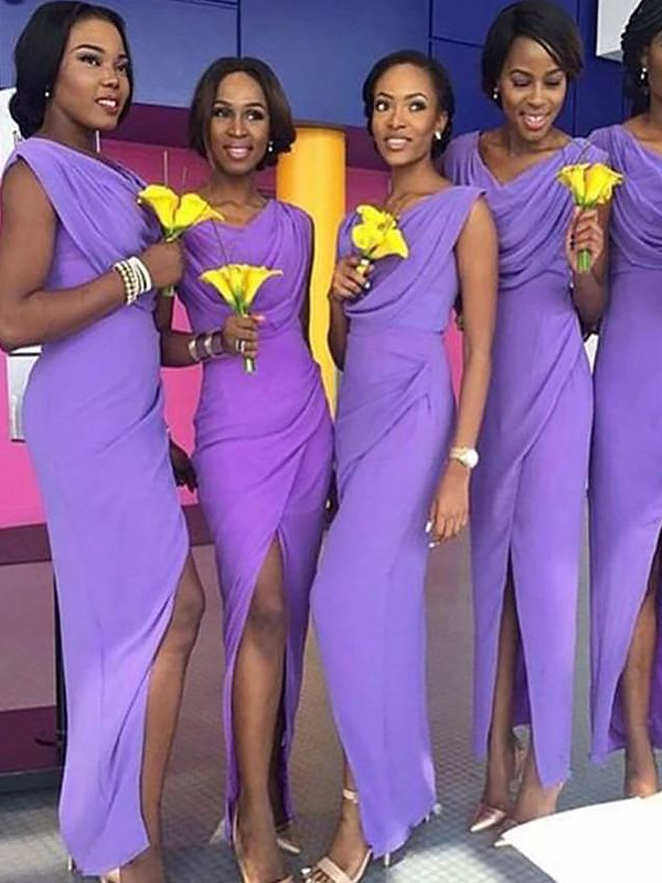 Lavender Chiffon Scoop Sheath/Column Floor-Length Bridesmaid Dresses