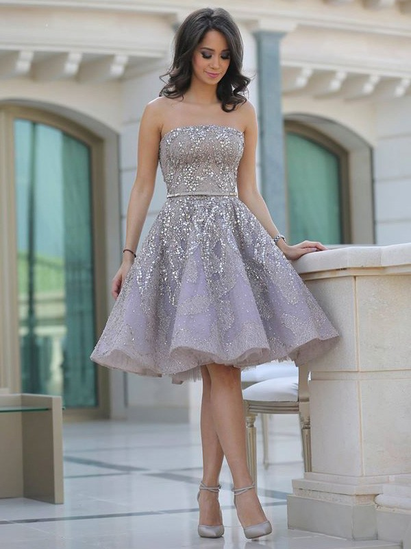 Champagne Satin Strapless A-line/Princess Knee-Length Dresses