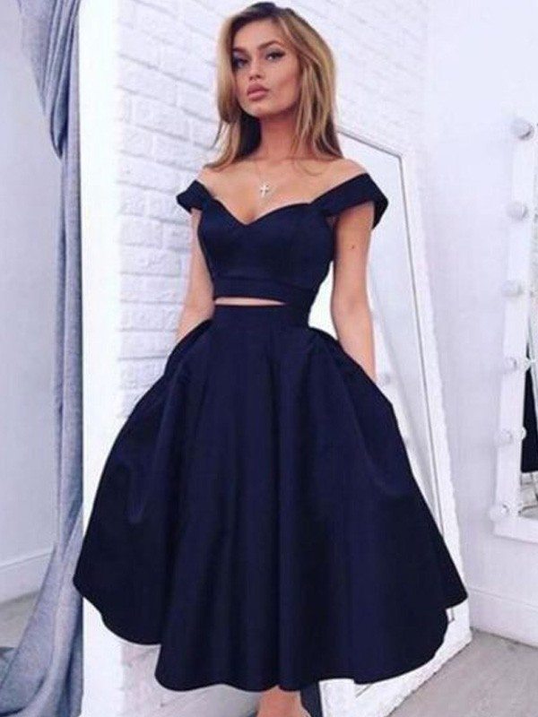 Black Satin Off-the-Shoulder A-line/Princess Tea-Length Dresses