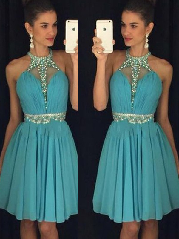 Blue Chiffon Halter A-line/Princess Short/Mini Dresses