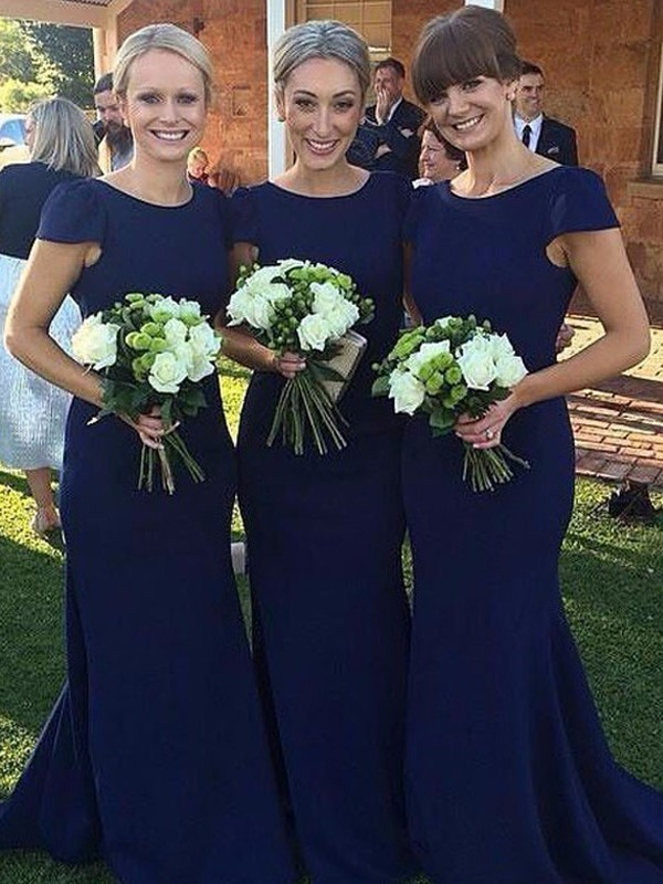 Royal Blue Satin Scoop Sheath/Column Floor-Length Bridesmaid Dresses