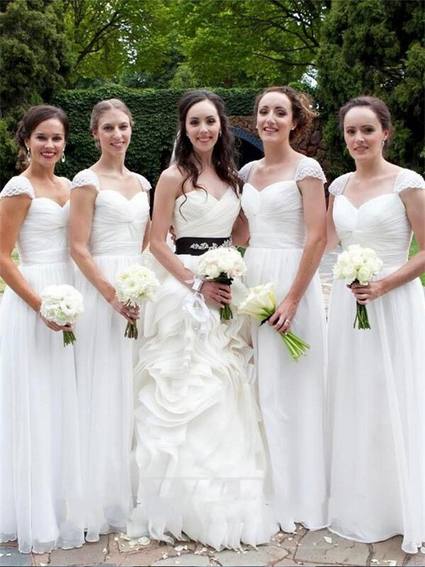 White Chiffon Sweetheart A-Line/Princess Floor-Length Bridesmaid Dresses