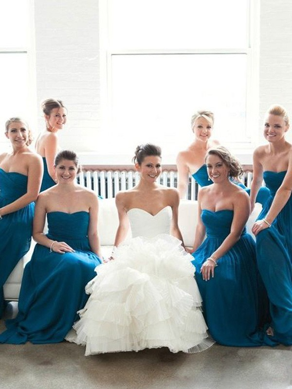 Blue Chiffon Sweetheart A-Line/Princess Floor-Length Bridesmaid Dresses
