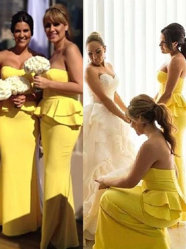 Yellow Satin Sweetheart Trumpet/Mermaid Floor-Length Bridesmaid Dresses