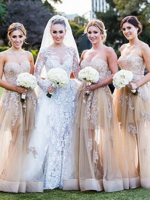 Champagne Tulle Sweetheart A-Line/Princess Floor-Length Bridesmaid Dresses