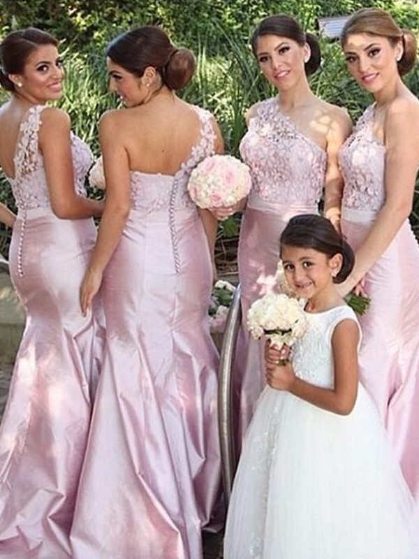 Pink Elastic Woven Satin One-Shoulder Trumpet/Mermaid Floor-Length Bridesmaid Dresses