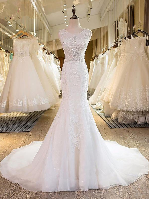 Ivory Tulle Scoop Trumpet/Mermaid Sweep/Brush Train Wedding Dresses