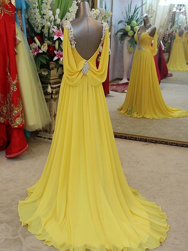 Yellow Chiffon Straps A-Line/Princess Sweep/Brush Train Dresses