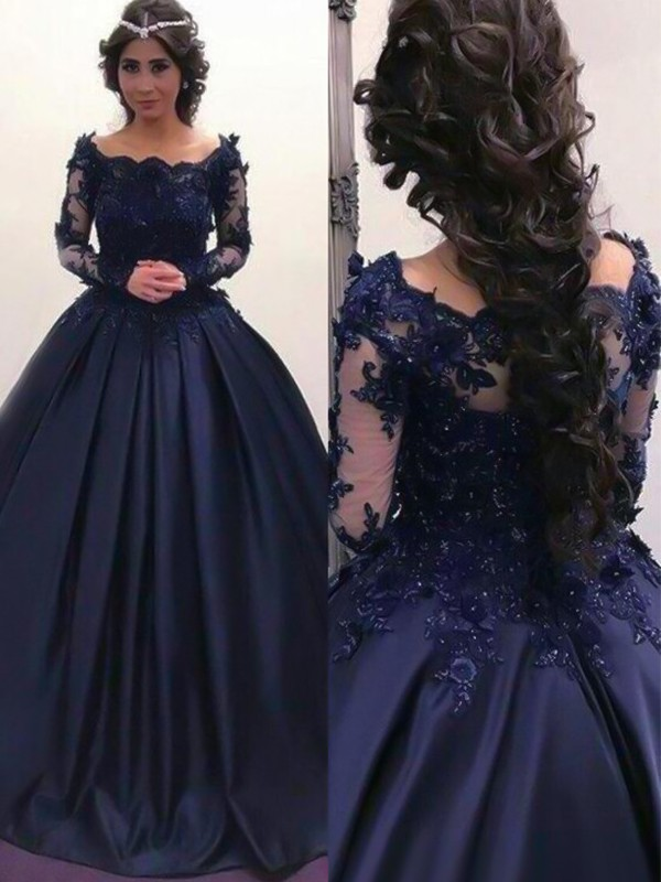 Dark Navy Satin Bateau Ball Gown Sweep/Brush Train Dresses