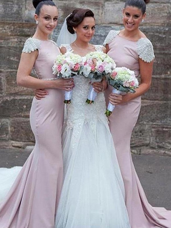 Pink Satin Bateau Trumpet/Mermaid Sweep/Brush Train Bridesmaid Dresses
