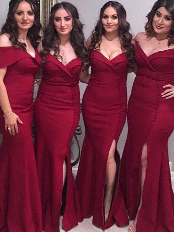 Burgundy Satin Off-the-Shoulder Sheath/Column Floor-Length Bridesmaid Dresses